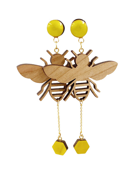 Sunny Yellow Bumble Bee Wood Dangle Plugs