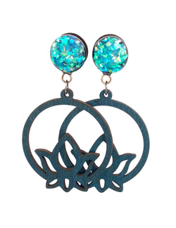 Blue Holographic Lotus Flower Wood Hoop Dangle Plugs