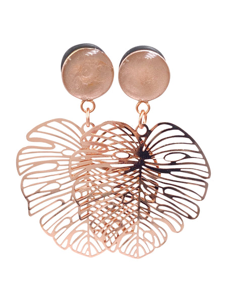 Metallic Rose Gold Satin Monstera Leaf Wood Dangle Plugs
