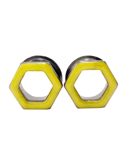 Sunny Yellow Hexagon Tunnel Plugs