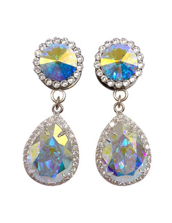 AB Swarovski All Crystal Teardrop Dangle Plugs