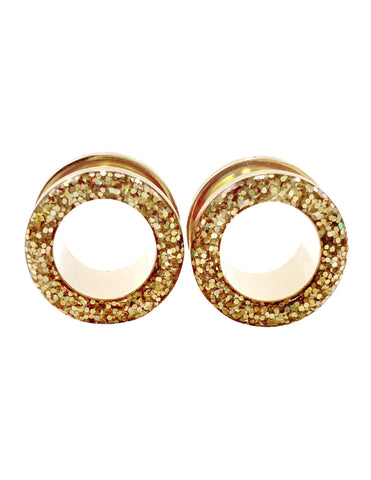 Iridescent Gold Sparkle Tunnel Plugs