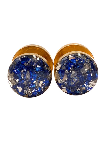 Sapphire Blue and Silver Crushed Glass Plugs