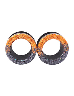 Iridescent Orange and black Ombré Raw Sparkle Tunnel Plugs