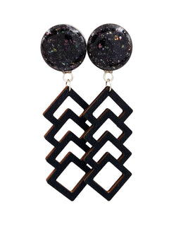 Black Iridescent Shell Geometric Wood Drop Dangle Plugs