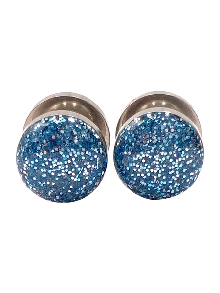 Light Blue and Silver Sparkle Plugs