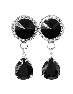 Swarovski Onyx Crystal Teardrop Dangle Plugs