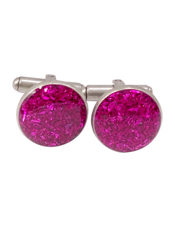 Magenta Pink Crushed Glass Cufflinks