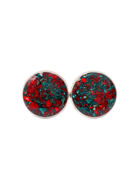Red and Green Crushed Glass Stud Earrings