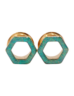 Aqua Iridescent Sparkle Tunnel Hexagon Plugs