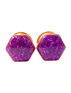 Royal Purple Crushed Glass Hexagon Plugs