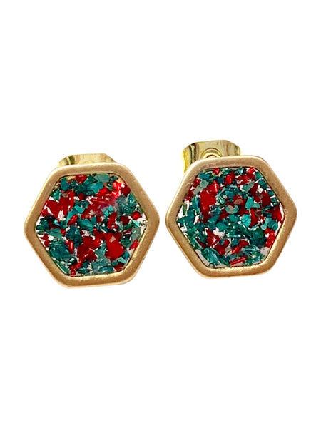Red and Green Glass Hexagon Earrings