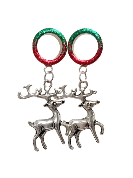 Red and Green Raw Ombre Reindeer Tunnel Dangle Plugs