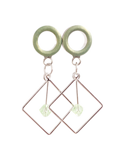 Matte Light Green Chrysolite Tunnel Dangle Plugs