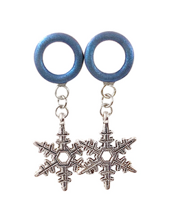 Royal Blue Matte Tunnel Snowflake Dangle Plugs