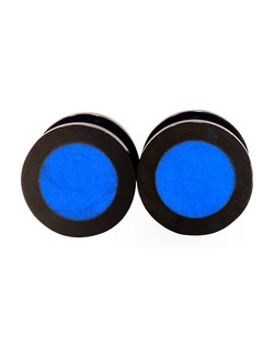 Bright Blue Shimmer Flat Top Plugs