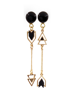Black Gloss and Gold Chain Arrow Drop Dangle Plugs
