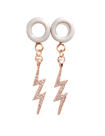 Frosted White Tunnel CZ Lightning Bolt Dangle Plugs