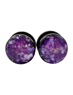 Deep Purple Crushed Shell Plugs