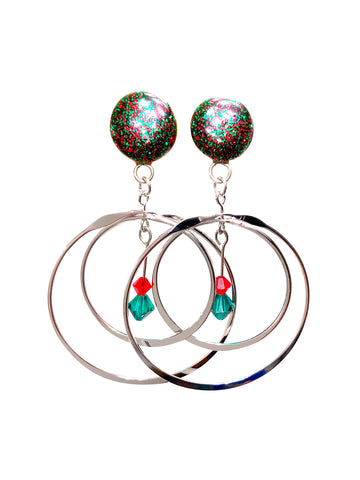 Red and Green Sparkle Rotating Hoop Wood Dangle Plugs