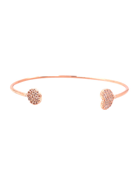 Rose Gold CZ Heart and Circle Bangle Bracelet