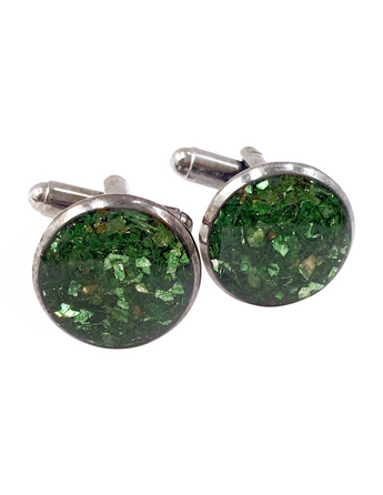 Forest Green Crushed Glass Cufflinks