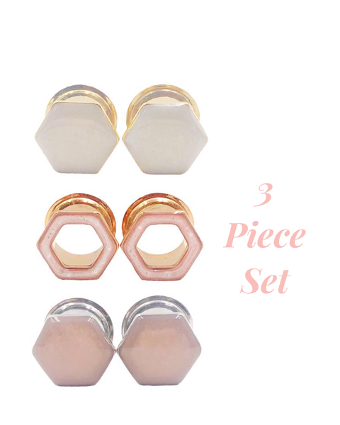 Frosted White, Rose Satin Tunnel, & Blush Nude Hexagon 3 Plug Set