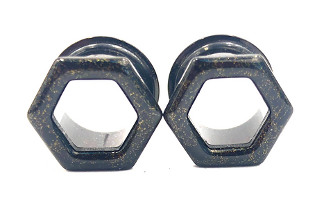 Black with Gold Shimmer Tunnel Hexagon Plugs