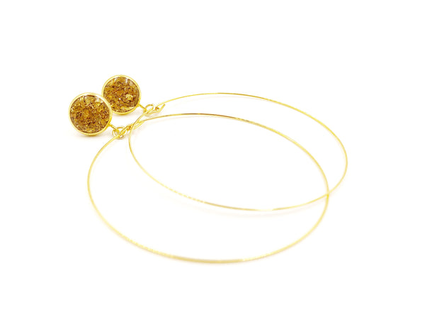 Gold Crushed Glass Hoop Dangle Earrings - Defiant Jewelry