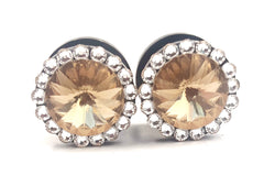Light Topaz Swarovski Crystal Plugs