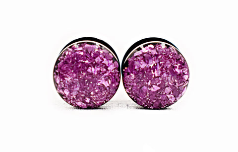 Lilac Crushed Glass Plugs - Defiant Jewelry