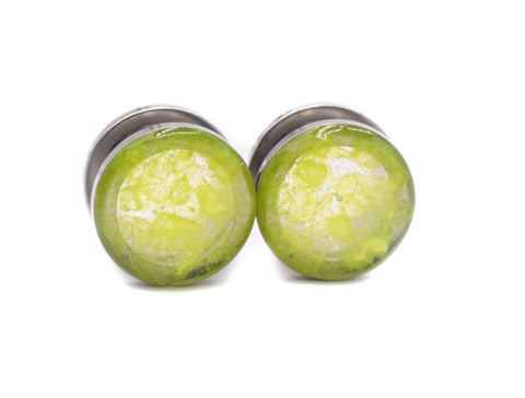 Lime Green Flake Plugs - Defiant Jewelry