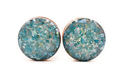 Ocean Blue Crushed Shell Plugs - Defiant Jewelry