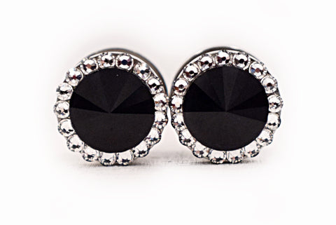 Black Onyx Swarovski Crystal Plugs - Defiant Jewelry