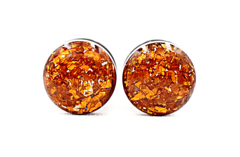 Orange Crushed Glass Plugs - Defiant Jewelry