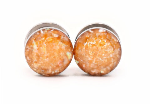 Orange Sunburst Crushed Shell Plugs - Defiant Jewelry