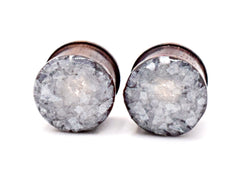 Pearl Crushed Glass Sono Wood Plugs - Defiant Jewelry
