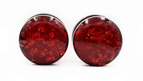 Red Crushed Glass Plugs - Defiant Jewelry