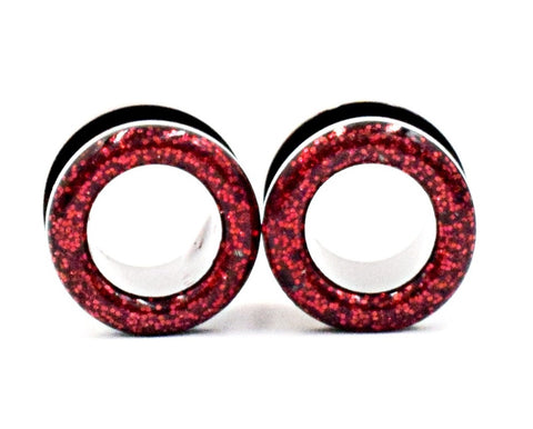 Red Sparkle Tunnel Plugs - Defiant Jewelry