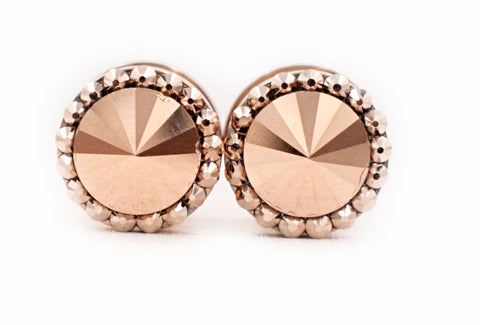 Rose Gold Metallic Swarovski Crystal plugs - Defiant Jewelry