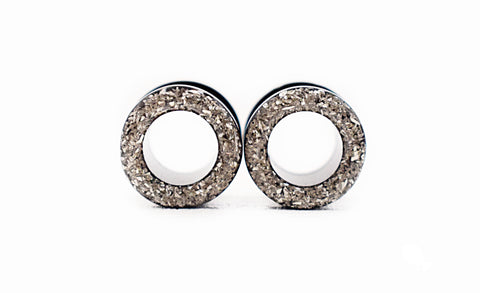 Silver Crushed Glass Tunnel Plugs - Defiant Jewelry