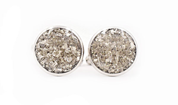 Silver Crushed Glass Cufflinks - Defiant Jewelry