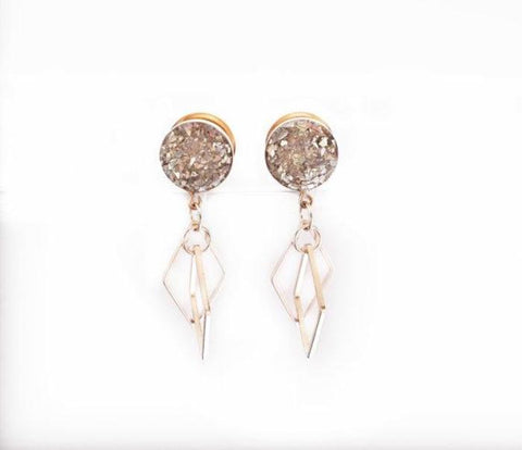 Silver Glass Diamond Dangle Plugs - Defiant Jewelry