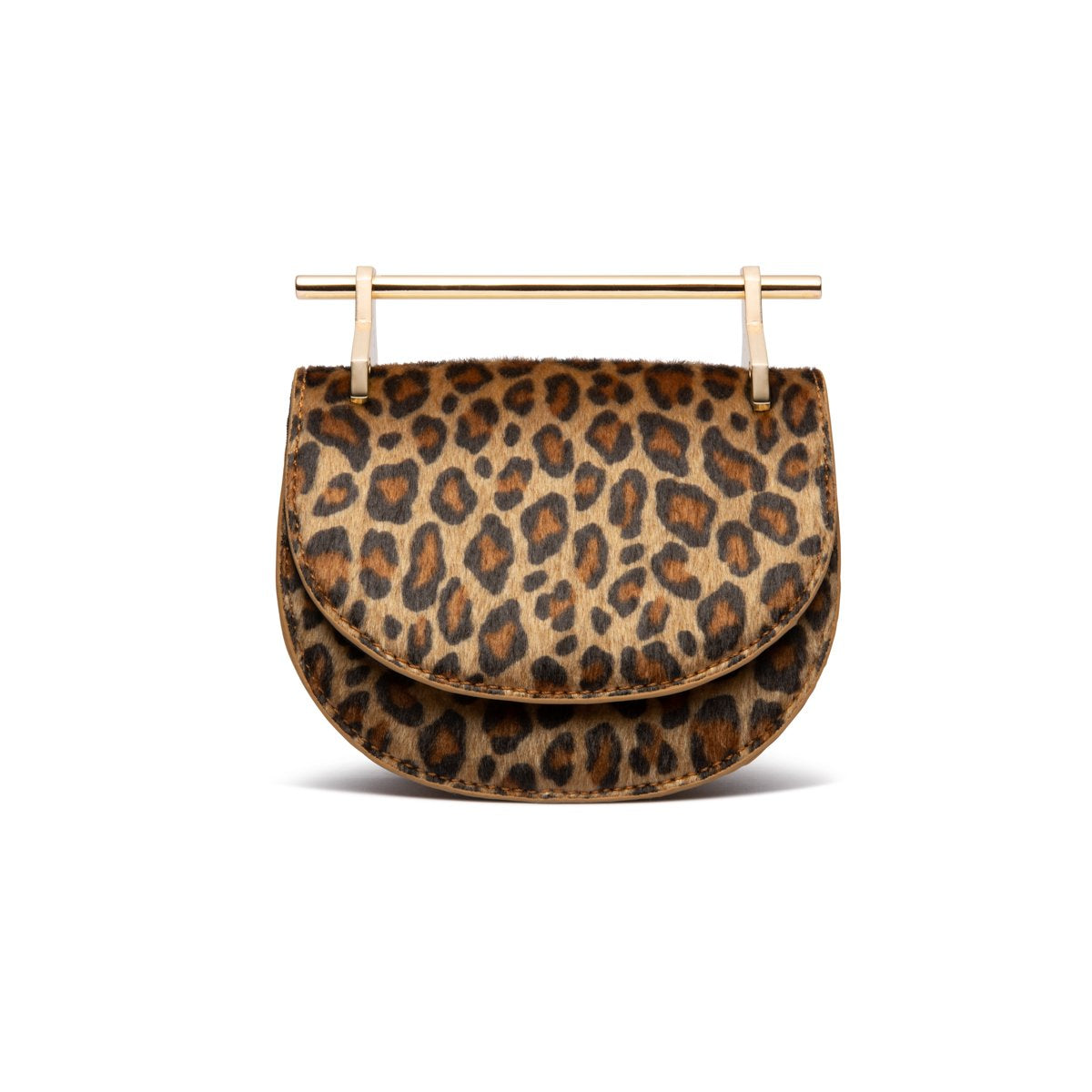 Ava Half Moon Clutch Bag (Leopard/Yellow Gold)