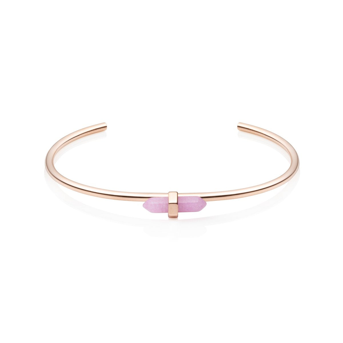 Rose Quartz Prism Bangle (Rose Gold)