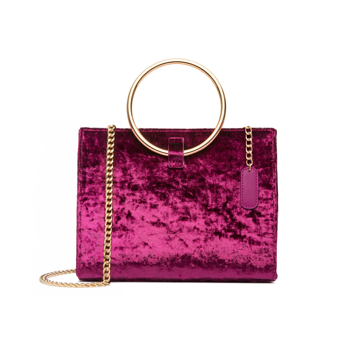 Moda Velvet Top Handle Bag (Raspberry/Yellow Gold)