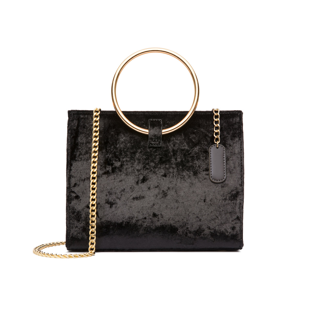 Moda Velvet Top Handle Bag (Jet Black/Yellow Gold)