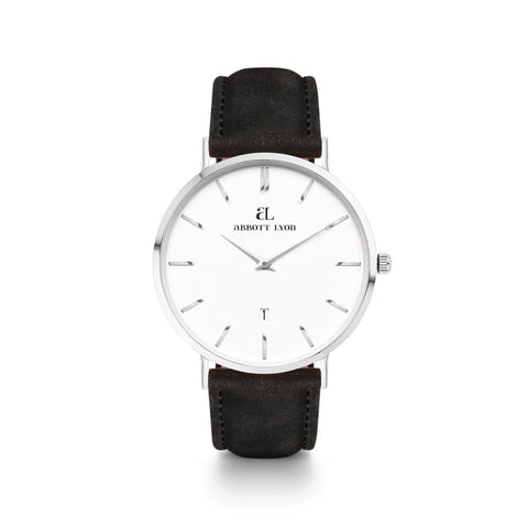 Black Leather Silver Kensington 40 (Silver/White)