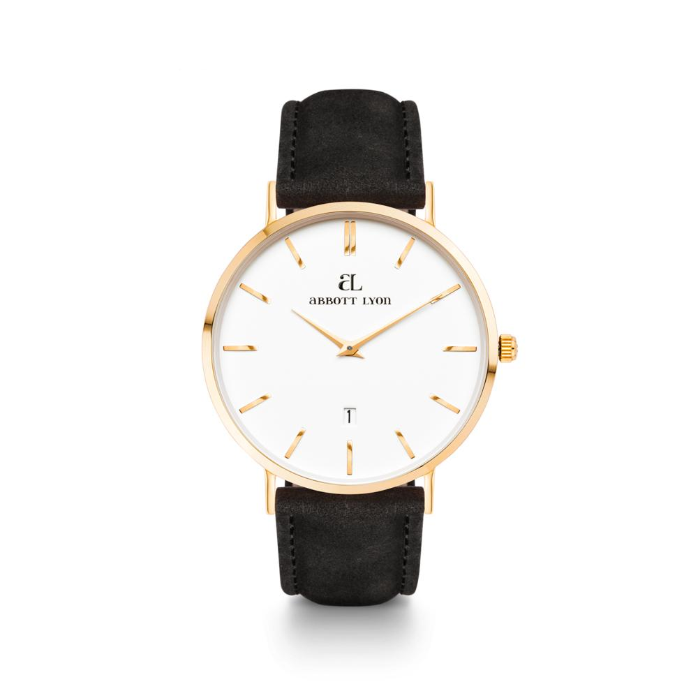Black Leather Gold Kensington 40 (Gold/White)