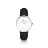 Black Leather Silver Kensington 34 (Silver/White)